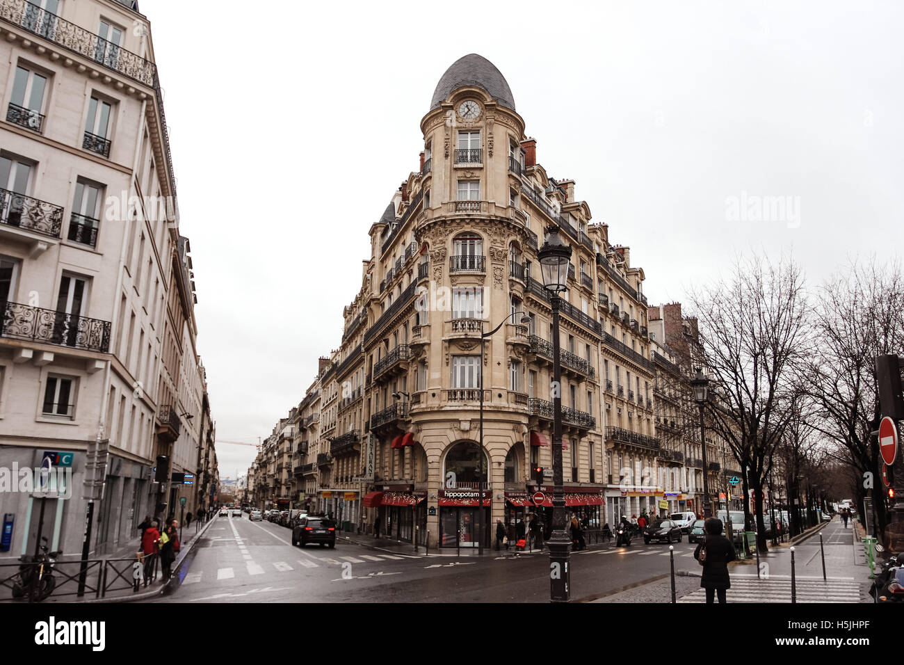 PARIS, FRANCE - DECEMBER 31, 2011: View from Place de Clichy in Paris on streets and buildings - Stock Image
