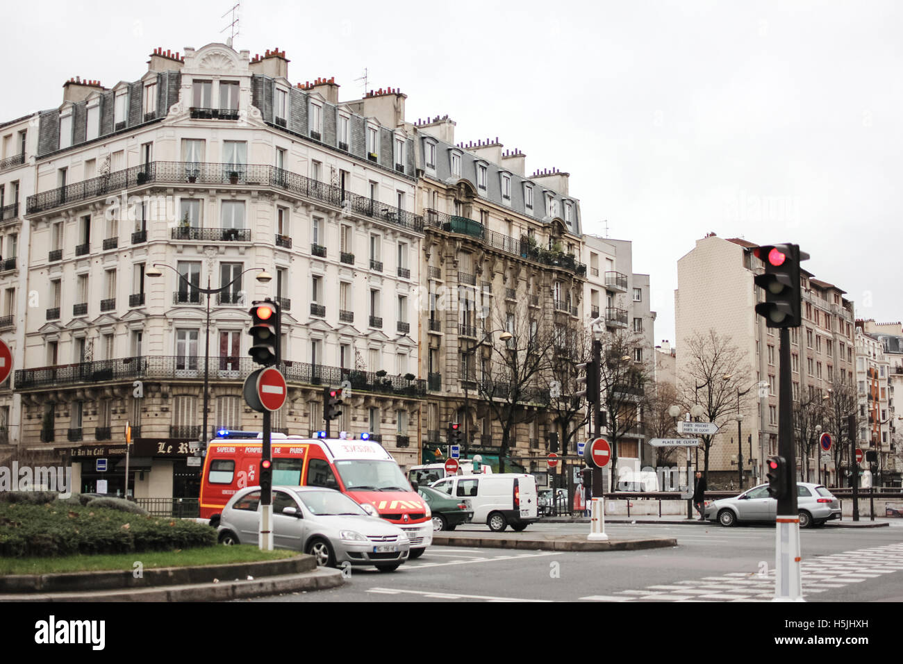 PARIS, FRANCE - JANUARY 1, 2012: Typical Paris street view with traffic - Stock Image