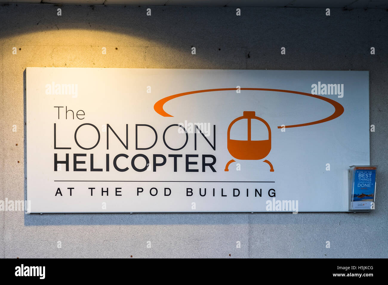 London Helicopter at the Pod building, Battersea, London, England, U.K. - Stock Image