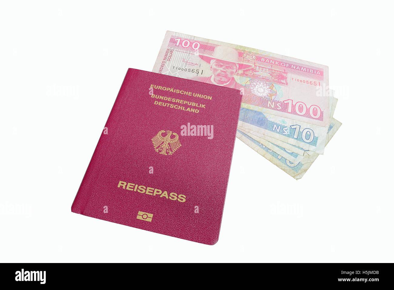 German Passport and Namibia Dollars - Stock Image
