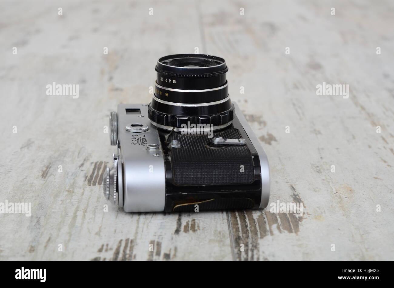 Lutsk Ukraine 2016 Illustrative Editorial old soviet film camera FED - 3 with lens INDUSTAR - 26M, isolated on white - Stock Image