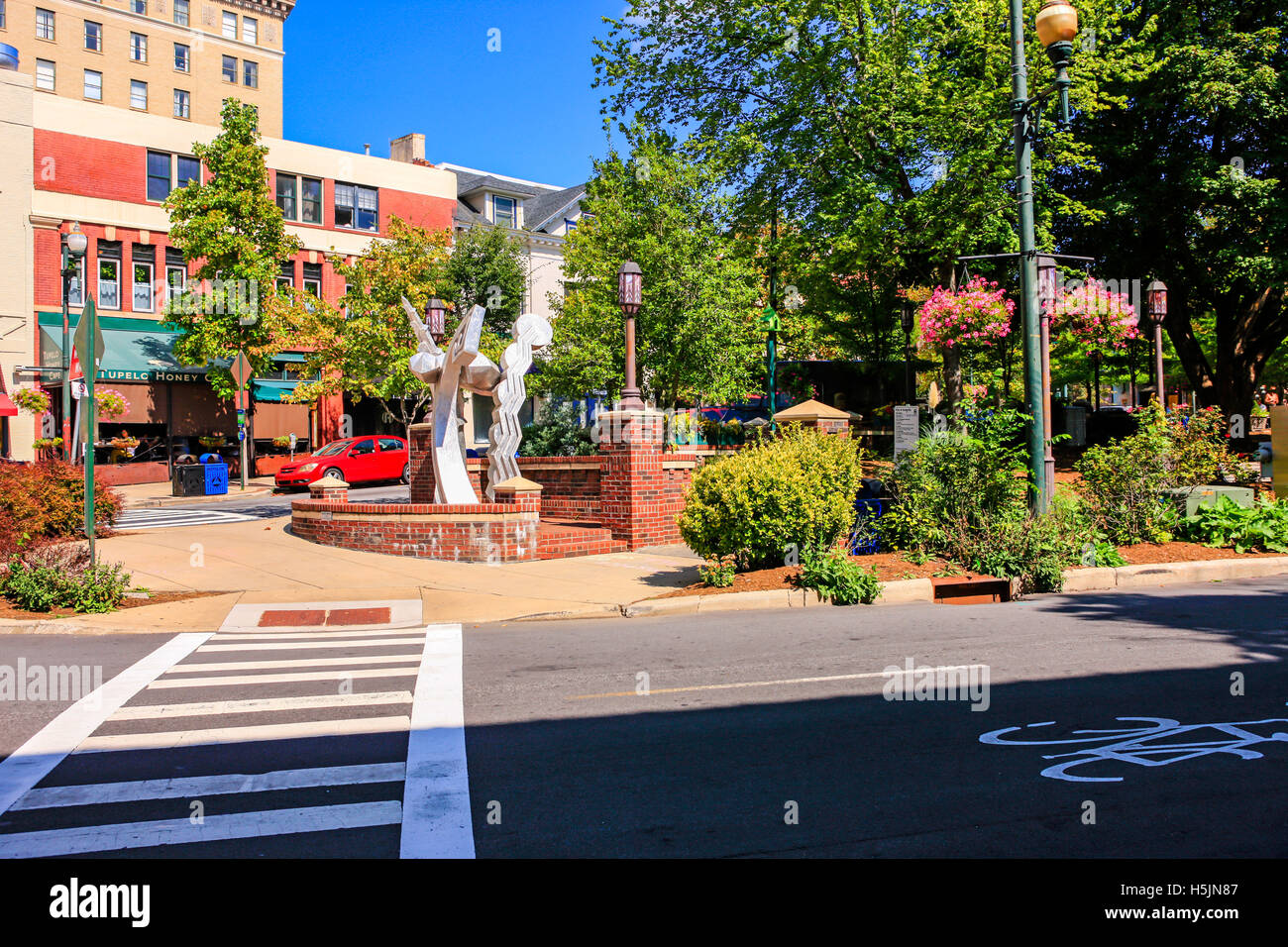 Pritchard Park in downtown Asheville NC - Stock Image