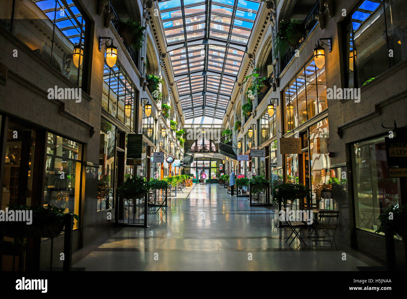 Inside the Grove Arcade shopping plaza in downtown Asheville NC - Stock Image