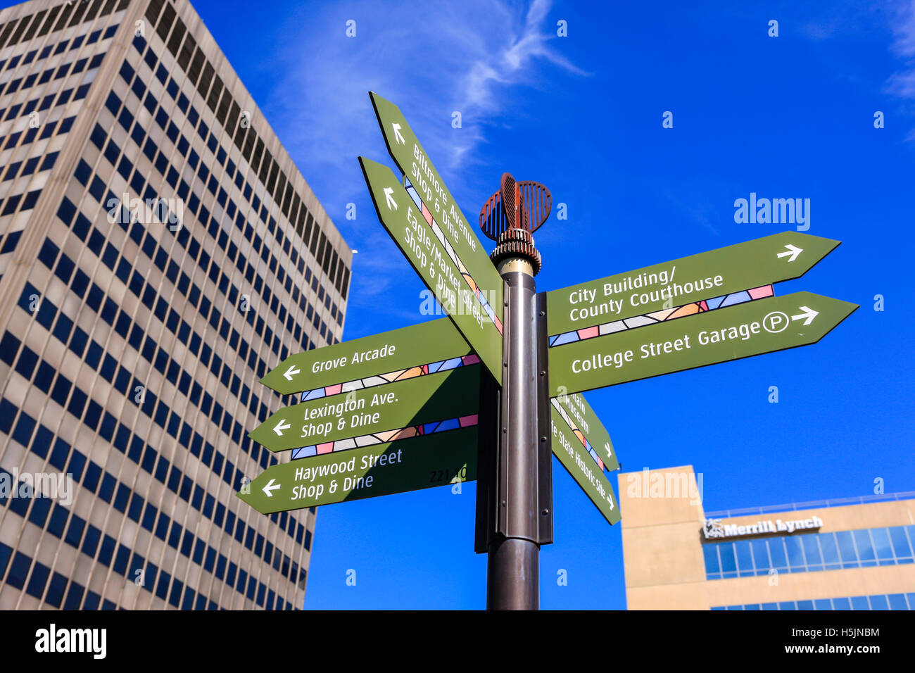 Multiple downtown destinations within the city of Asheville NC - Stock Image