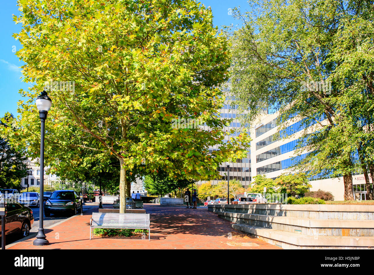 North Pack Square in downtown Asheville NC - Stock Image