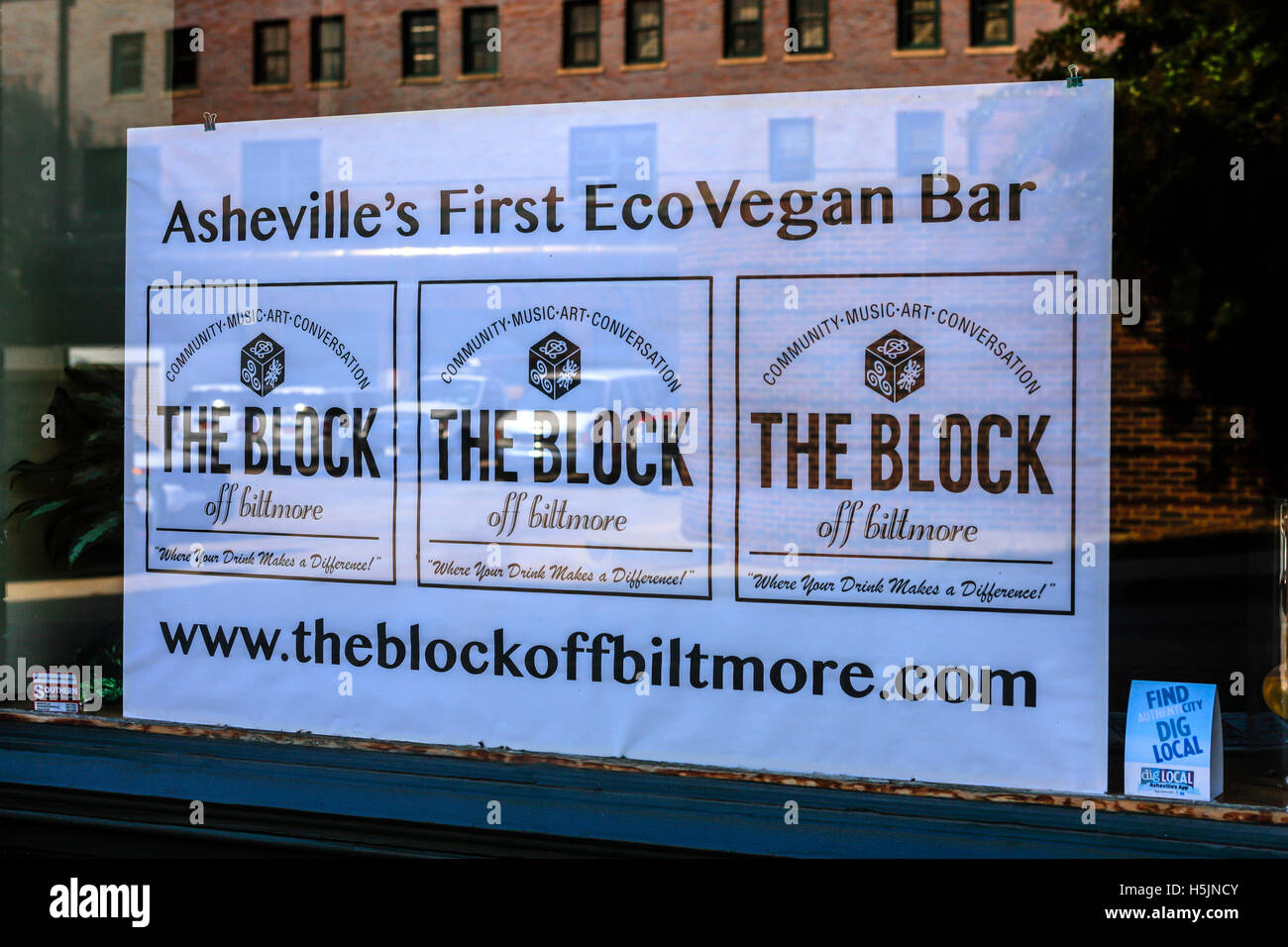 Sign in the window of The Block, an  EcoVegan Bar in downtown Asheville, NC - Stock Image