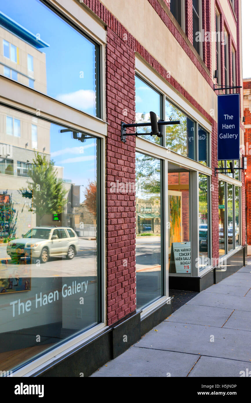 The Haas Gallery on Biltmore Ave in downtown Asheville NC - Stock Image