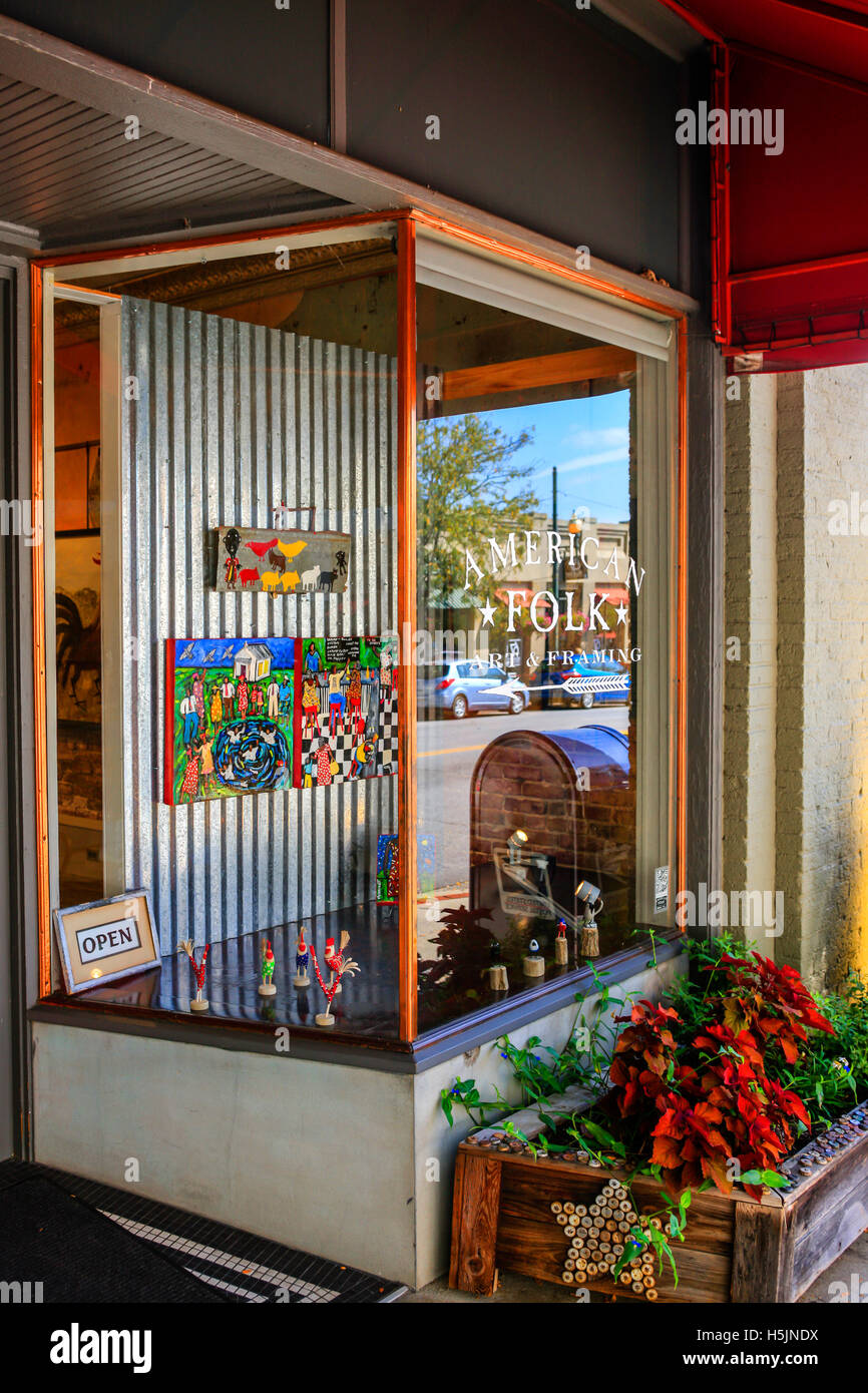 Outside the American Folk art store on Biltmore Ave in downtown Asheville NC - Stock Image