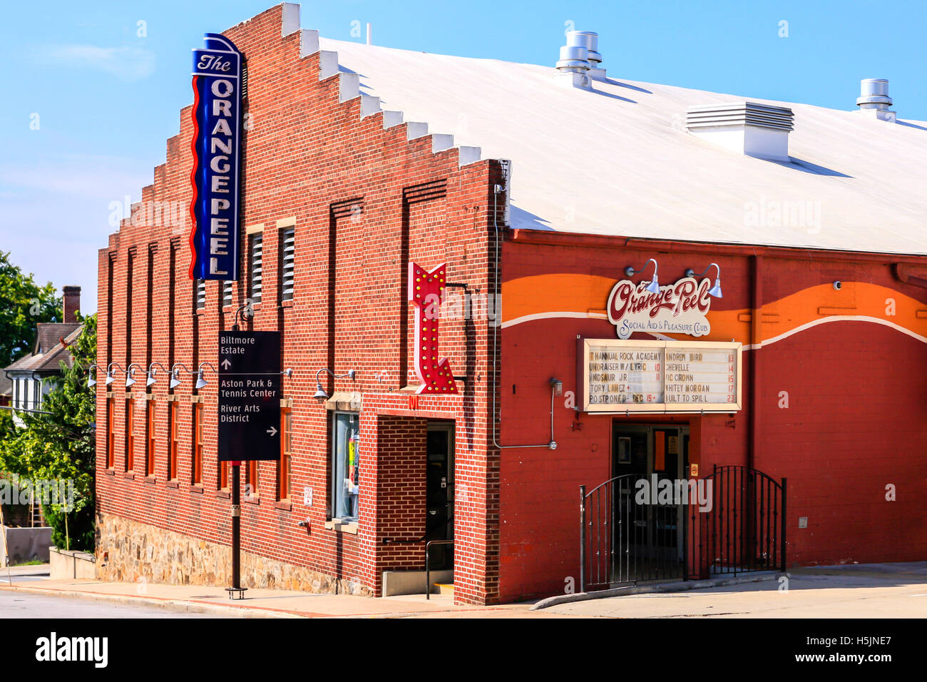 The Orange Peel music venue in downtown Asheville NC - Stock Image