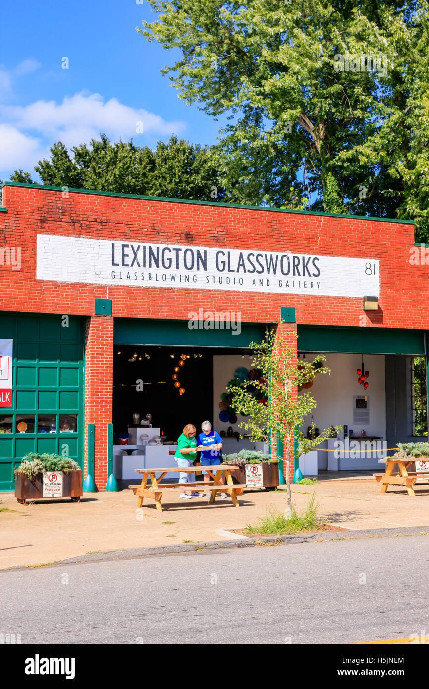 The Lexington Glassworks studio on S. Lexington Ave in Asheville, NC - Stock Image