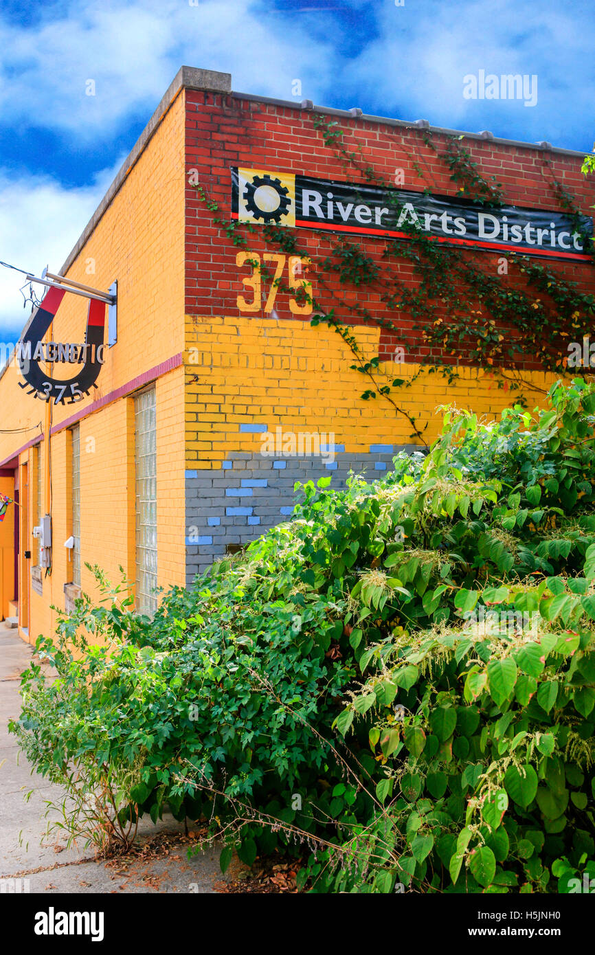 The Magnetic Theatre in the River Arts District of Asheville NC - Stock Image