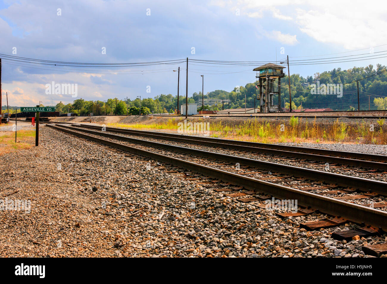 The freight yard of the Asheville Southern Railway in North Carolina - Stock Image