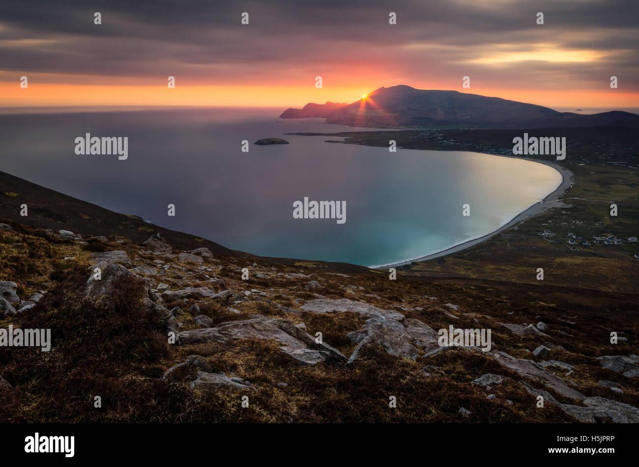 Achill Island sunset in County Mayo, Ireland. - Stock Image