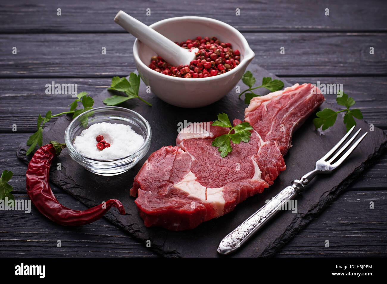 Raw meat steak entrecote. Selective focus - Stock Image