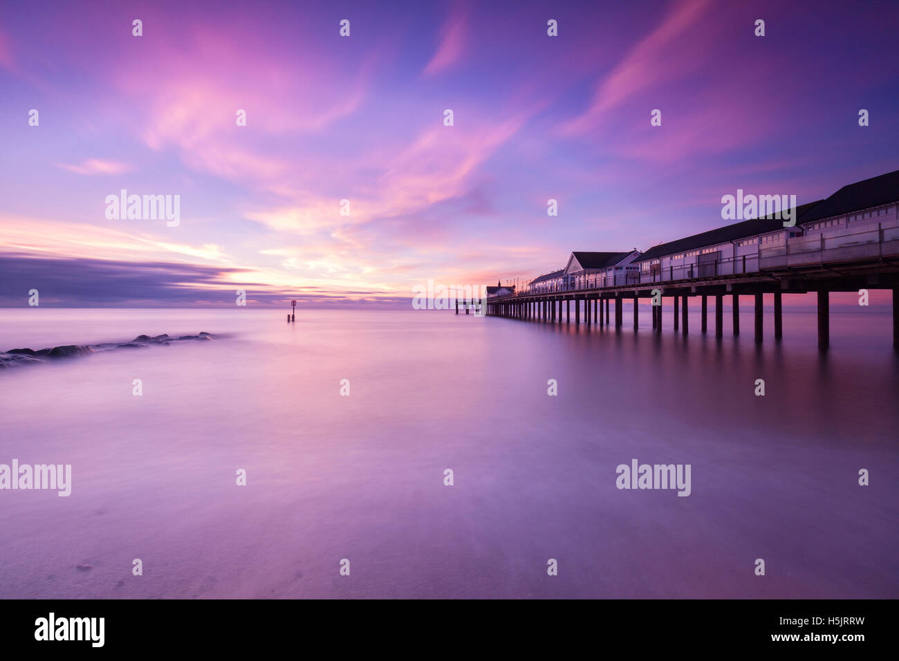 Southwold pier sunrise Suffolk coast East Anglia - Stock Image