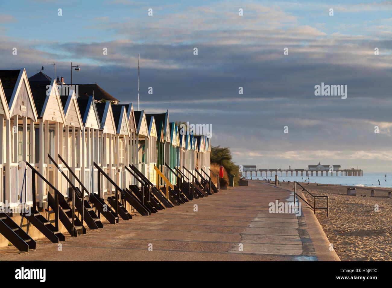 Beach huts on prom Southwold Suffolk East Anglia, UK - Stock Image