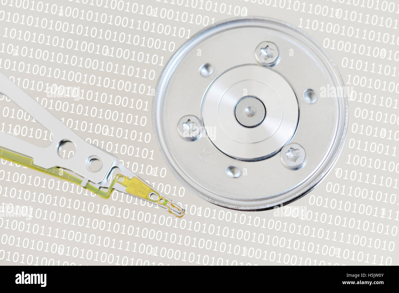 Computer Hard Disk Drive with Binary numbers Stock Photo