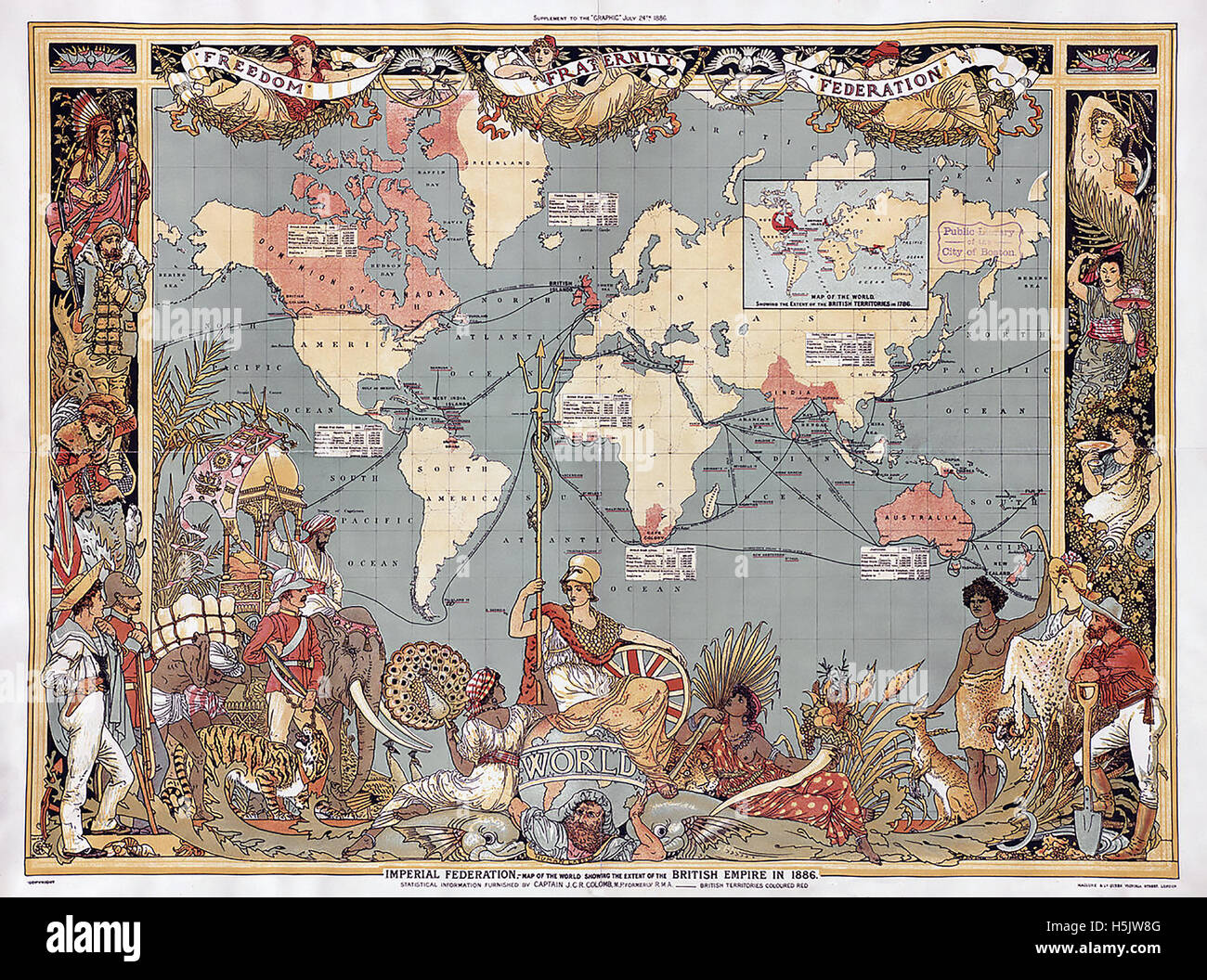 BRITISH EMPIRE MAP 1886 as a supplement to The Graphic magazine in that year - Stock Image