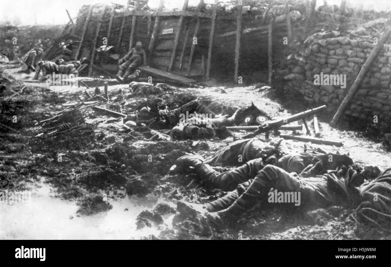 GAS WARFARE  A British position at Fromelles, northern France, after a German gas attack in July 1916. Stock Photo