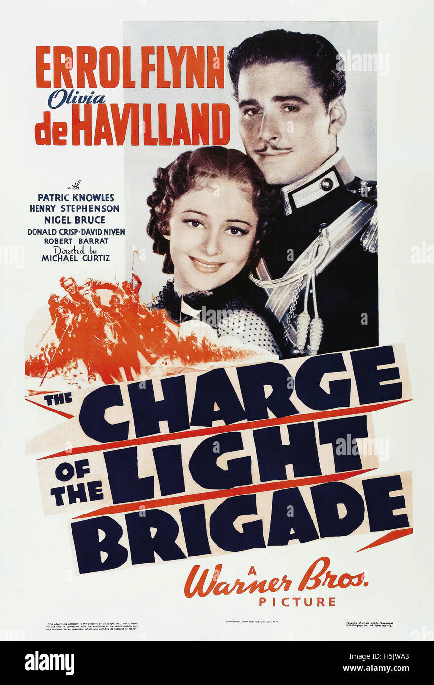 THE CHARGE OF THE LIGHT BRIGADE 1936 Warner Bros film with Olicia de Havilland and Errol  Flynn - Stock Image