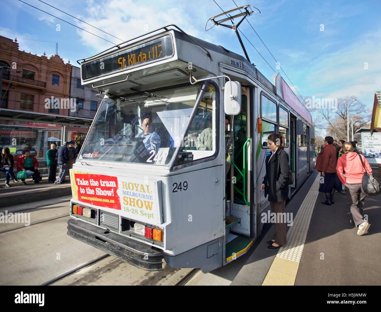 St Kilda tram at St Kilda shopping area in Melbourne, Australia  A major form of public transport in Melbourne Stock Photo