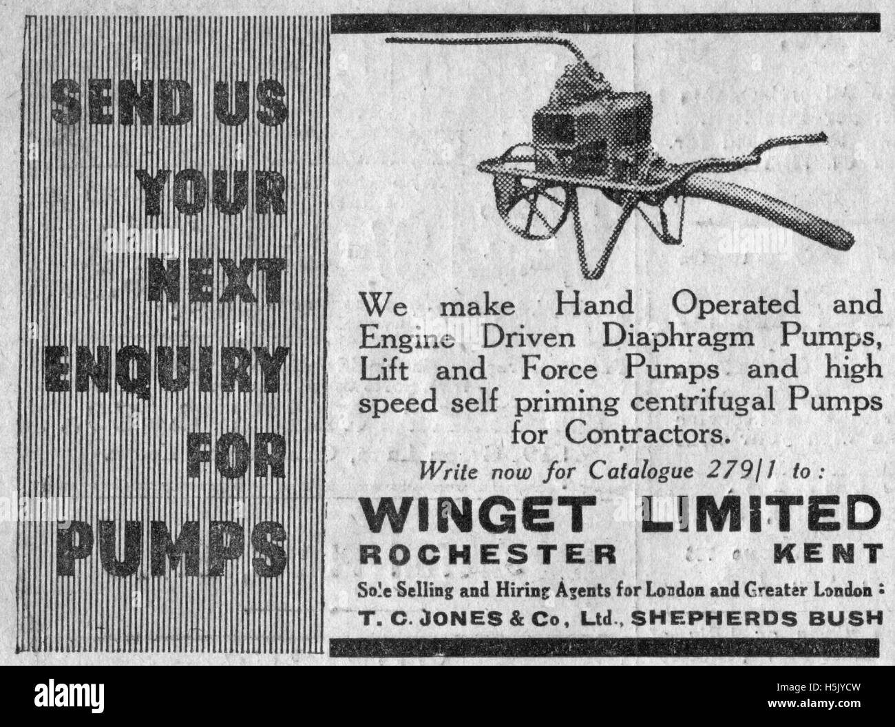 Vintage advertisement for pumps from December 20th 1935 The Illustrated Carpenter and Builder magazine - Stock Image