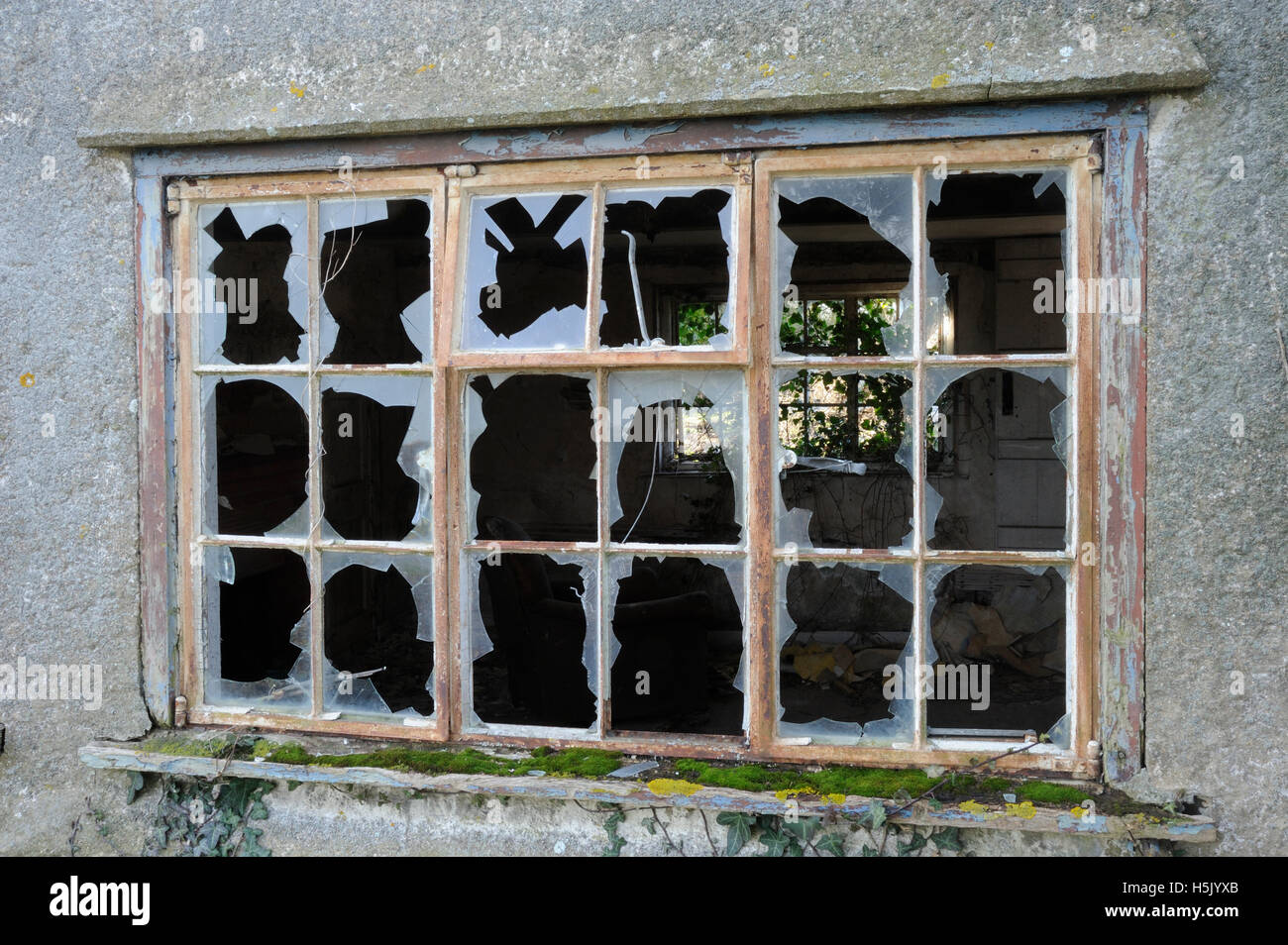 Abandoned cottage, broken windows, disrepair - Stock Image