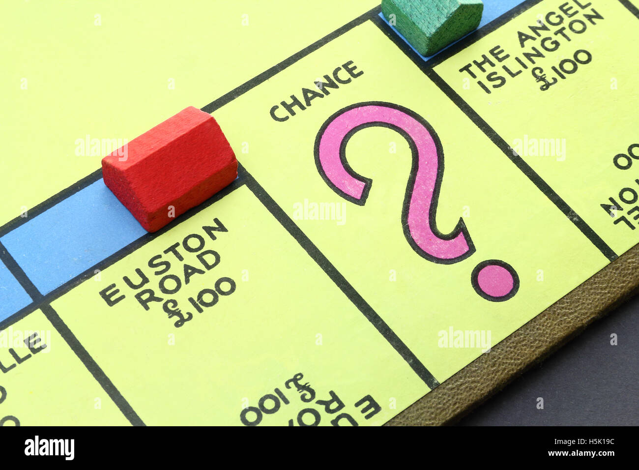 Vintage British Monopoly board (Euston Road and Chance) circa 1940 - Stock Image