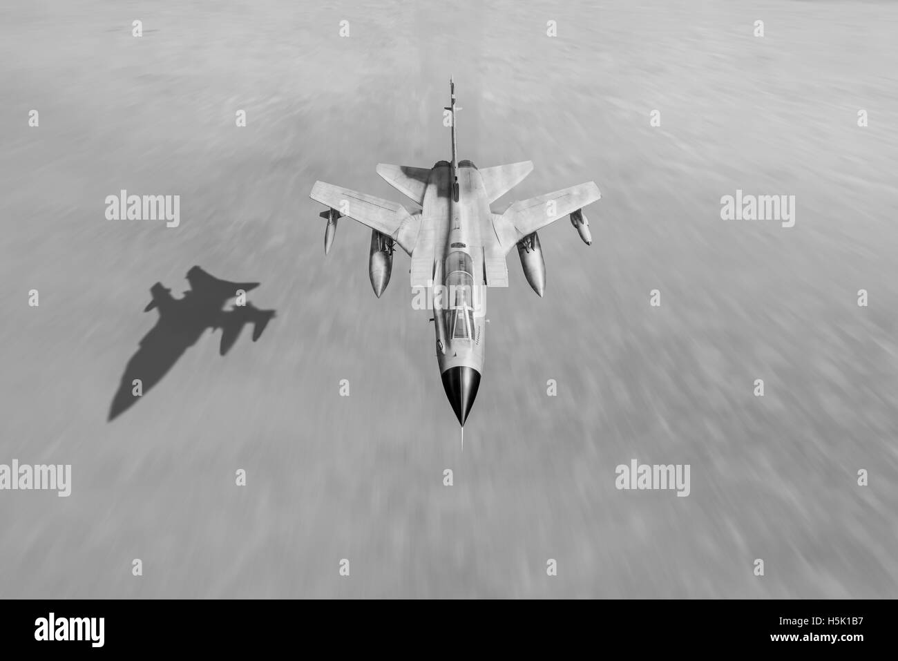 A depiction of a Royal Air Force Tornado GR.1 at low level over the Iraqi desert during Operation Desert Storm. - Stock Image