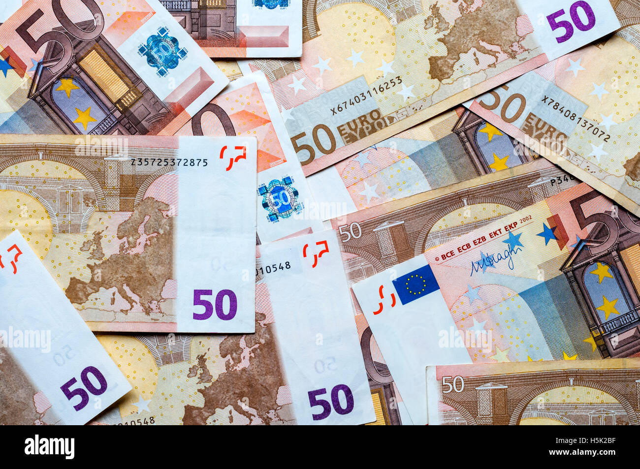 A pile of European €50 (Fifty Euro)  notes. - Stock Image