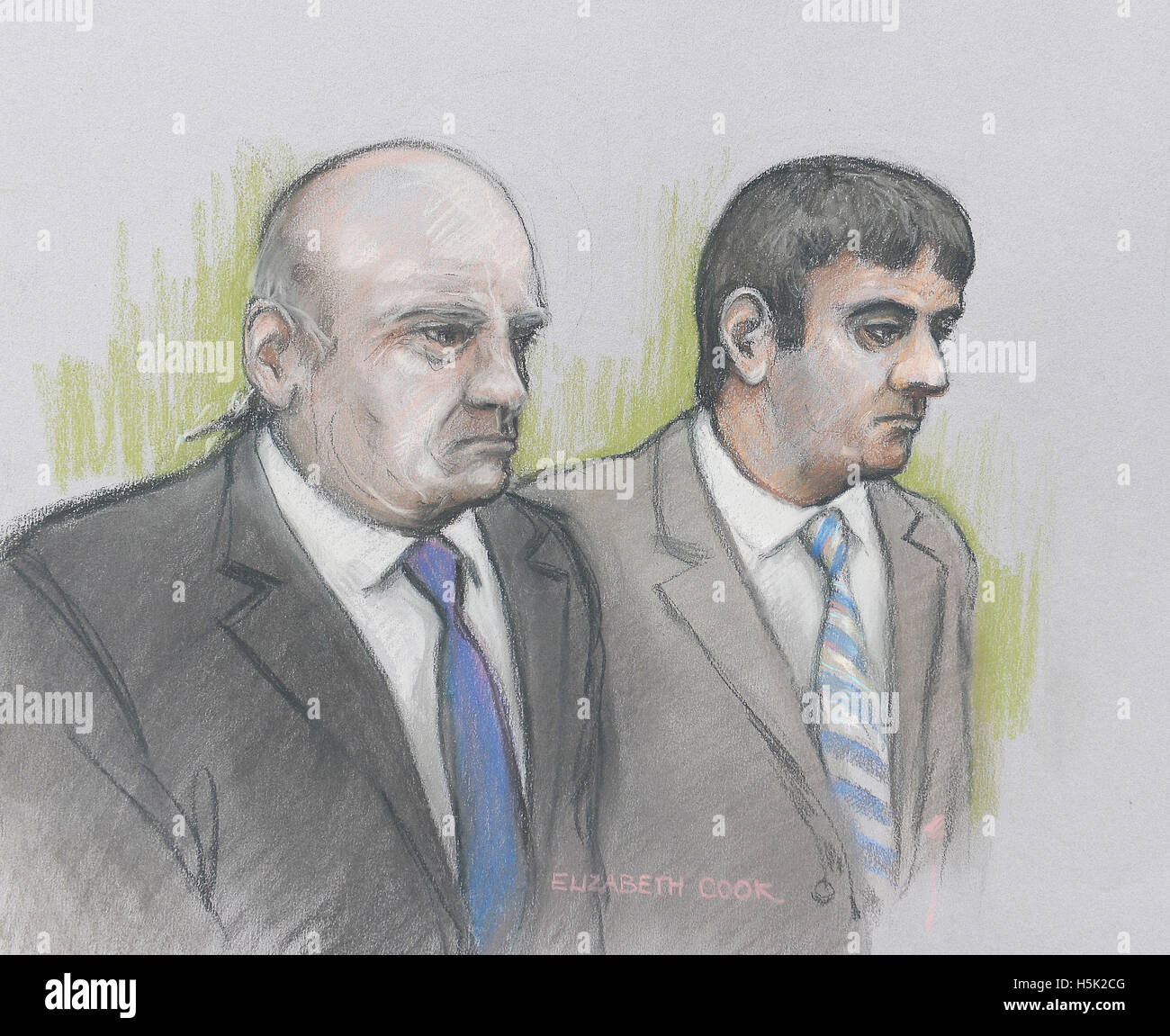 File court artist sketch dated 21/09/16 by Elizabeth Cook of Alan Smith (left) and Fake Sheikh Mazher Mahmood who - Stock Image