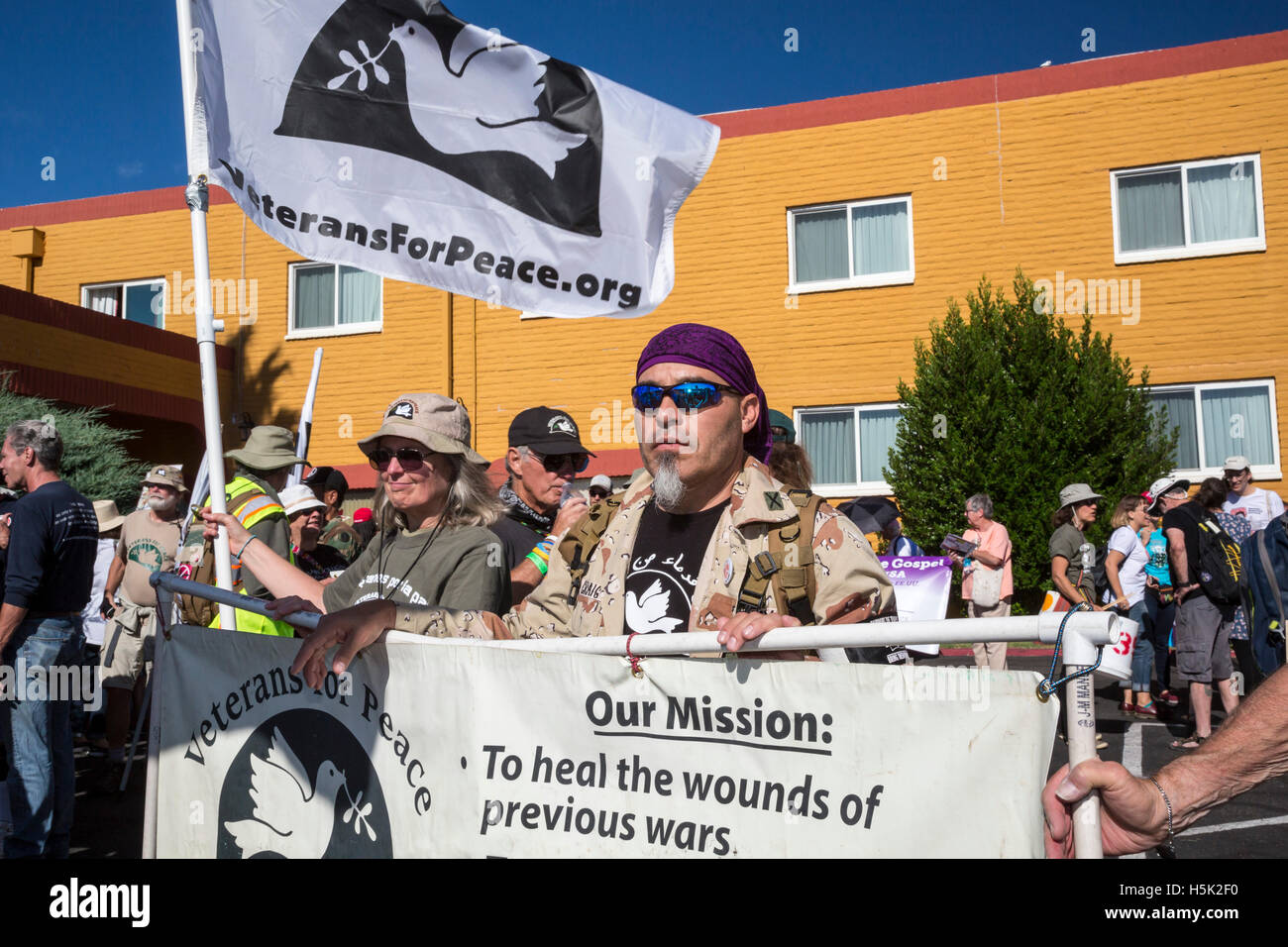 Nogales, Arizona - Veterans led international rallies protesting the U.S.-Mexico border fence. - Stock Image