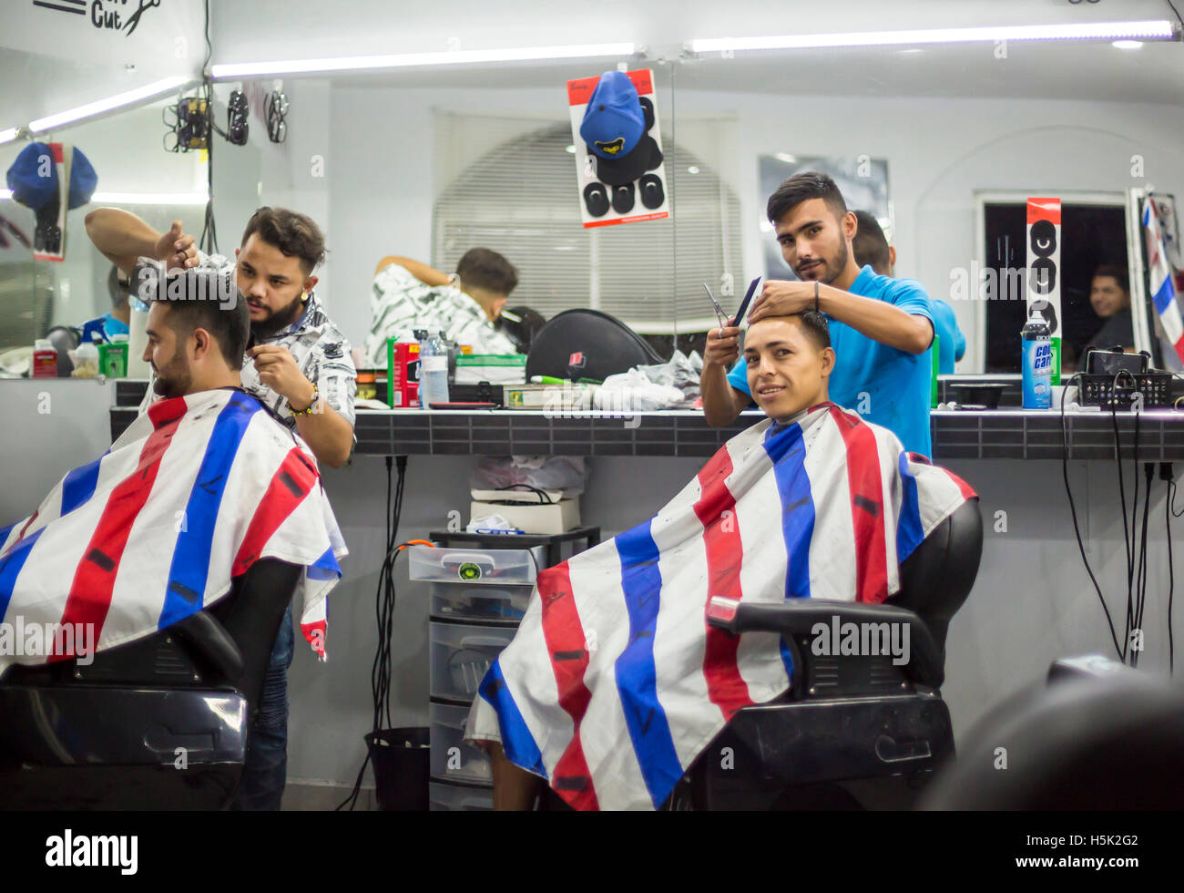 Nogales, Sonora Mexico - Barber shop. Stock Photo