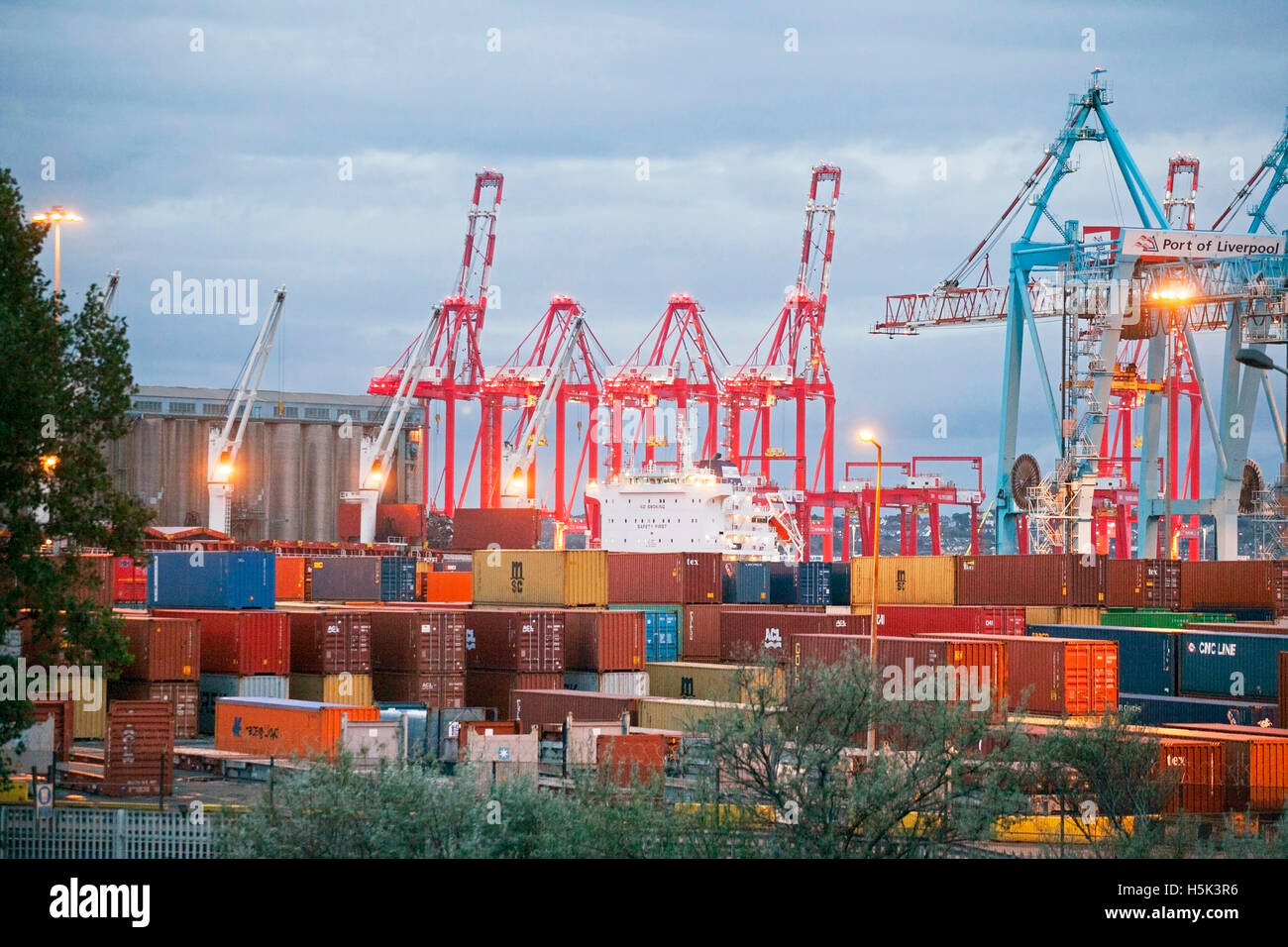 British exports and imports being unloaded and loaded at Seaforth Docks, Container port,  Liverpool2, Merseyside, - Stock Image