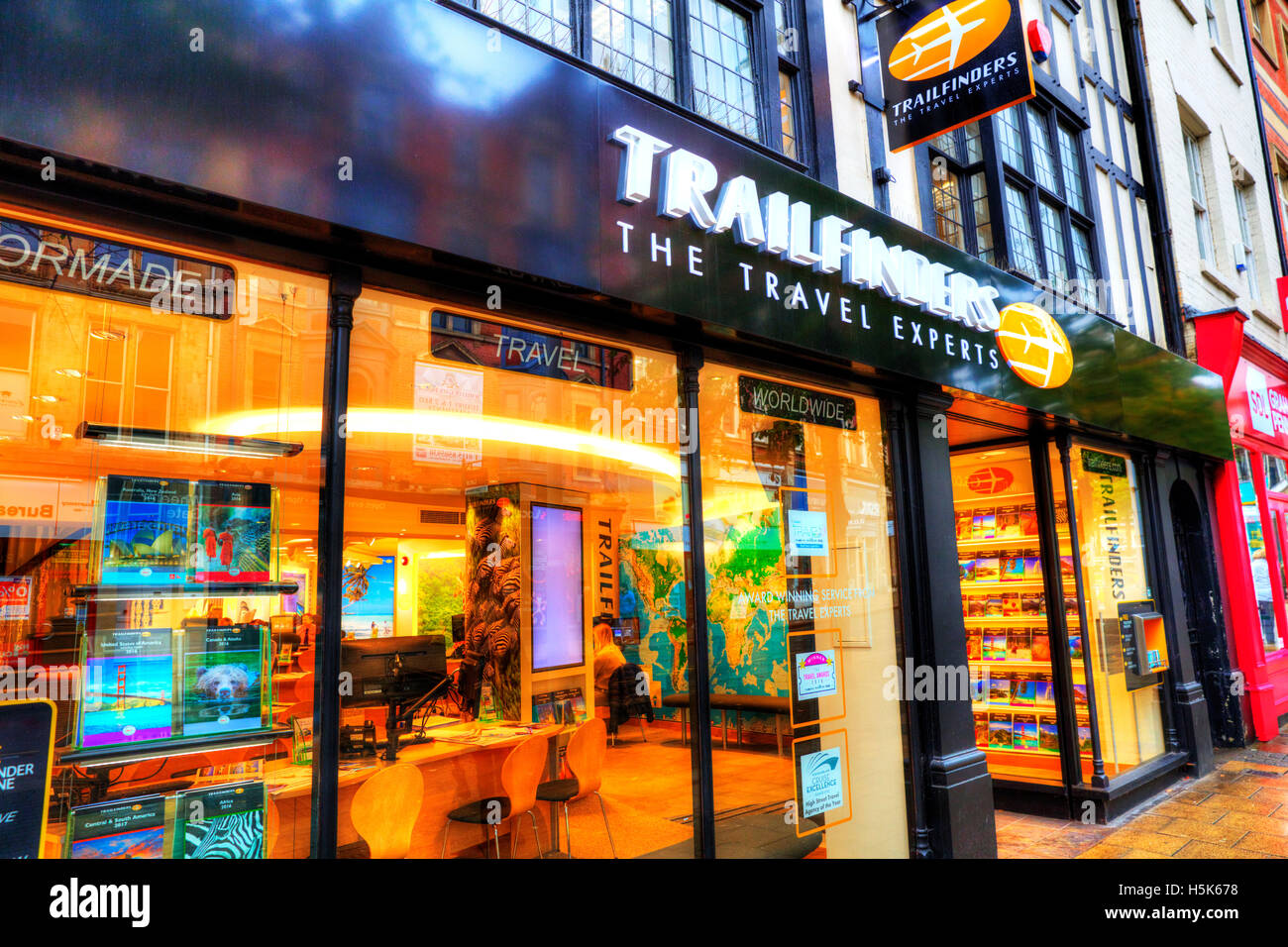 Trailfinders travel agent agents agency shop front store window display exterior building sign signs trail finders - Stock Image