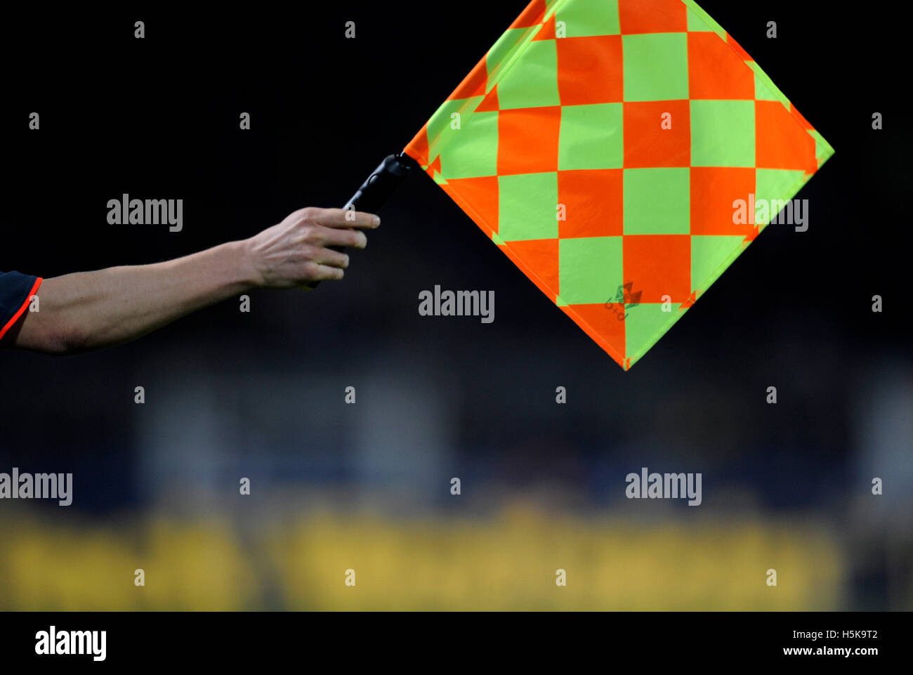 The assistant referee's flag, football, soccer - Stock Image