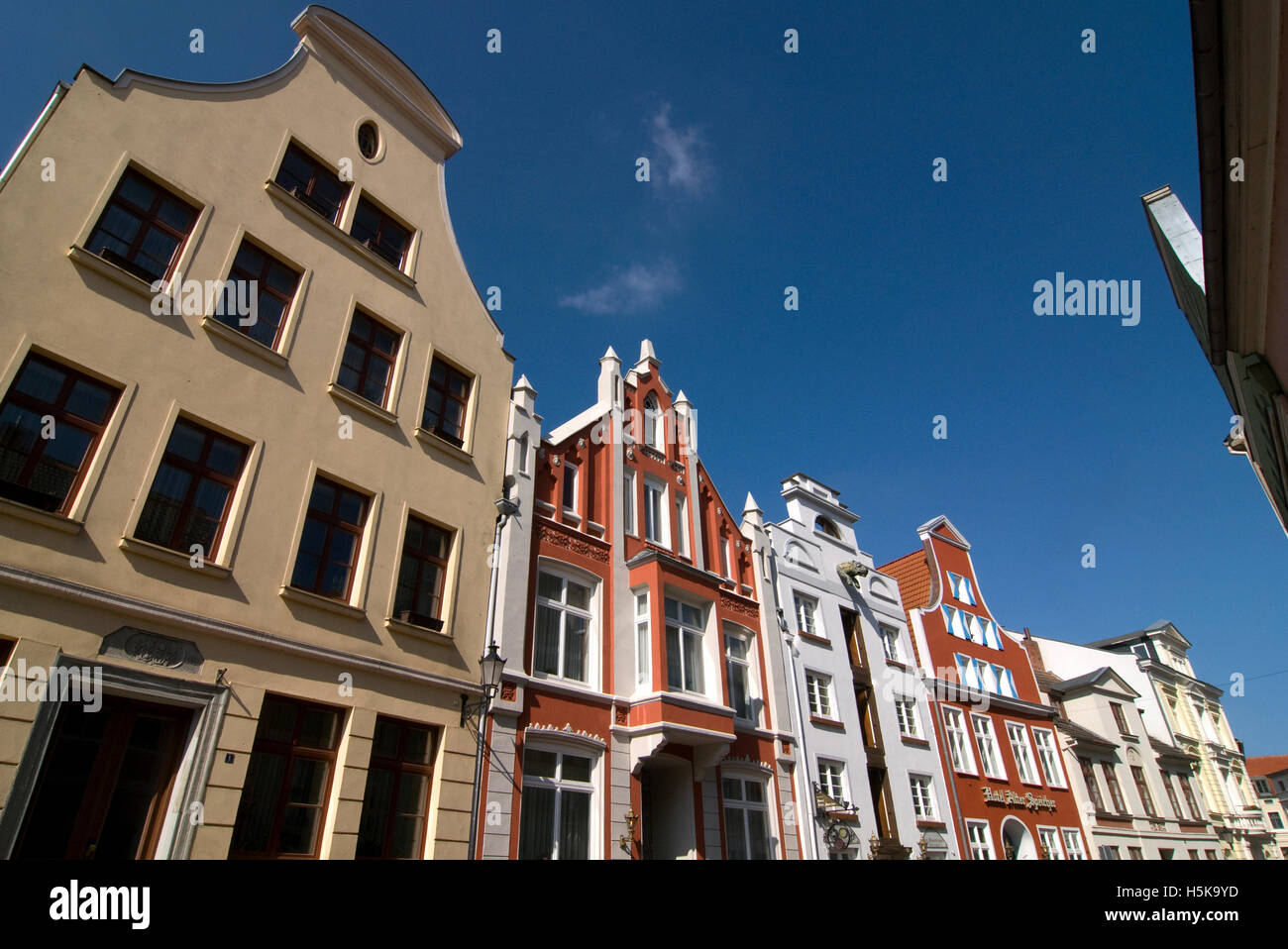 Historic buildings in Wismar, Mecklenburg-Western Pomerania - Stock Image