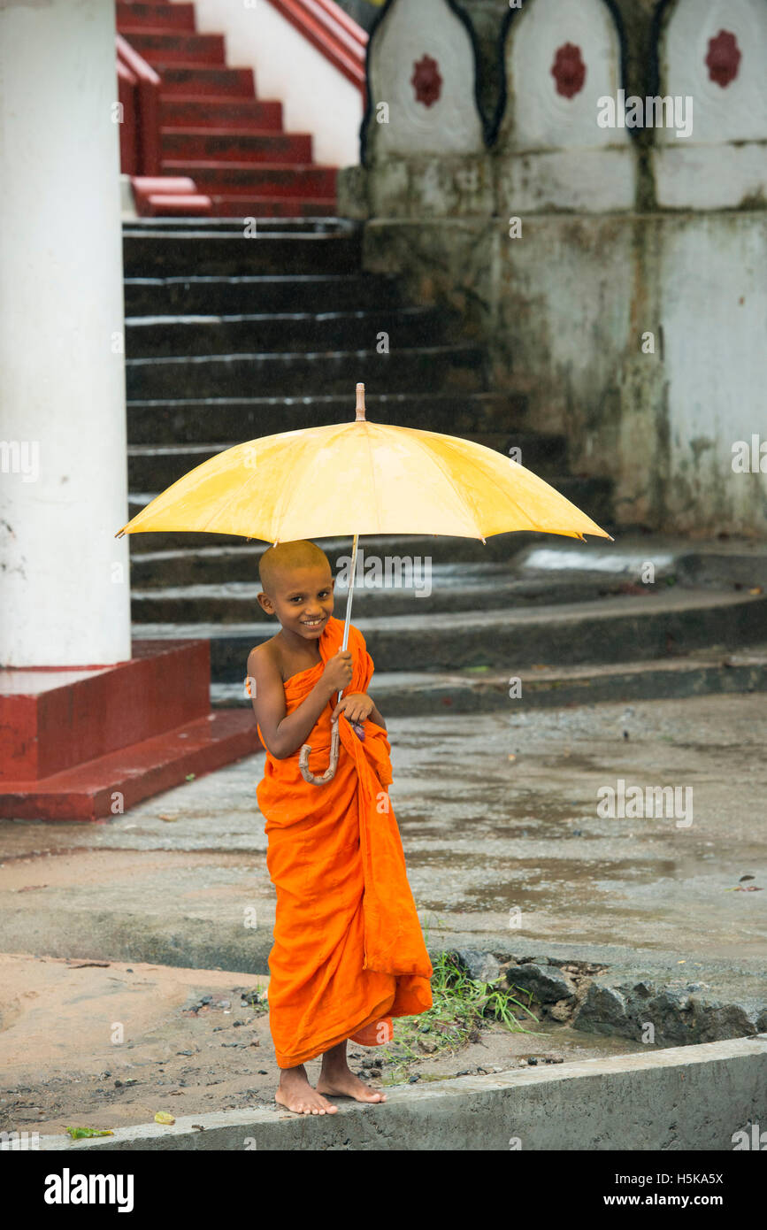 Young buddhist monk carrying an umbrella in the rain, Dimbulagala Buddhist Monastery Near Polonnaruwa, Sri Lanka - Stock Image