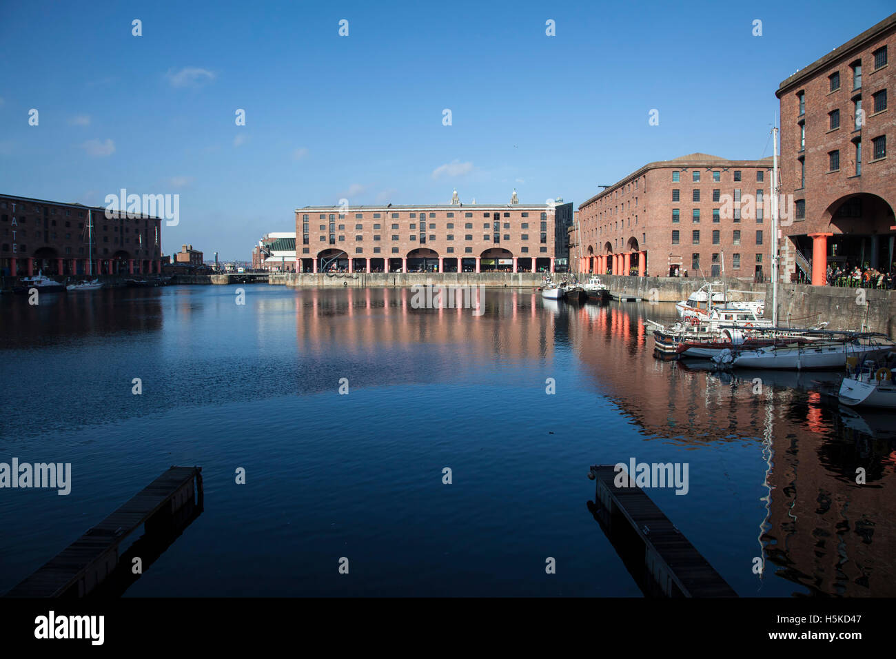 A view of the renovated Albert Dock in Liverpool city following its closure and renovation - Stock Image