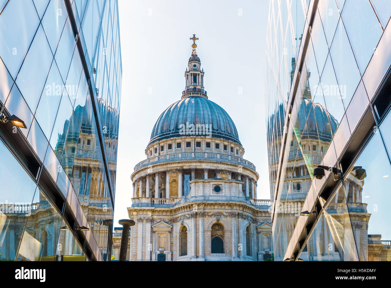 St Pauls Cathedral reflected in glass window of One New Change in London - Stock Image
