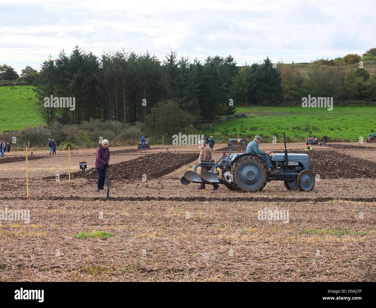 Spectators and competitors at Ashover Ploughing Match, Highoredish Farm, Derbyshire. Stock Photo