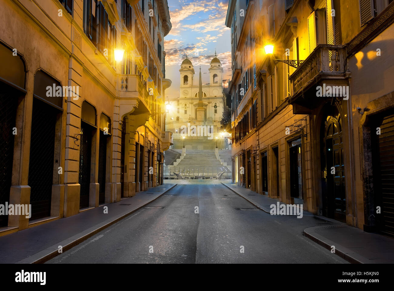 Street with road to Spanish Stairs in Rome, Italy - Stock Image