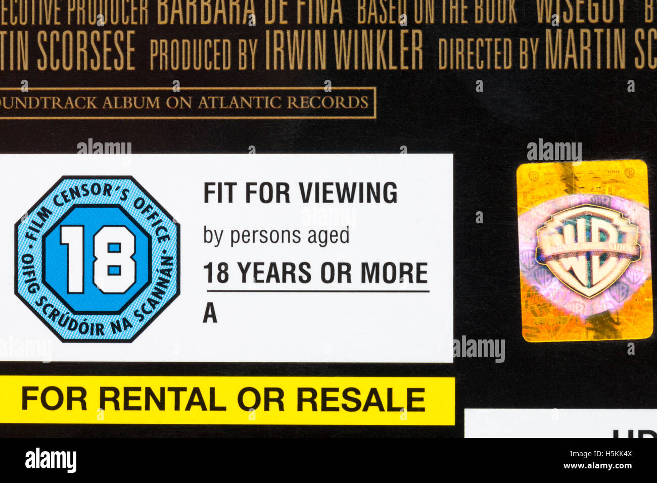 18 rating on HD DVD case - fit for viewing by persons aged 18 years or more - for rental or resale - Stock Image