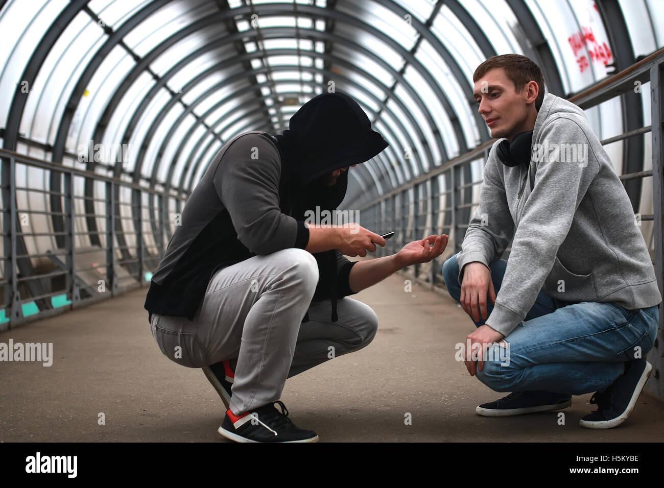 urban tunnel man listen music Stock Photo