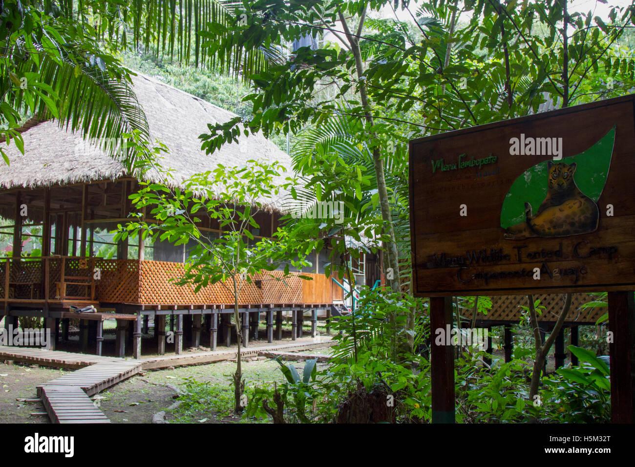 Aguaje Tented Camp in the Manu National Park, Peru - Stock Image
