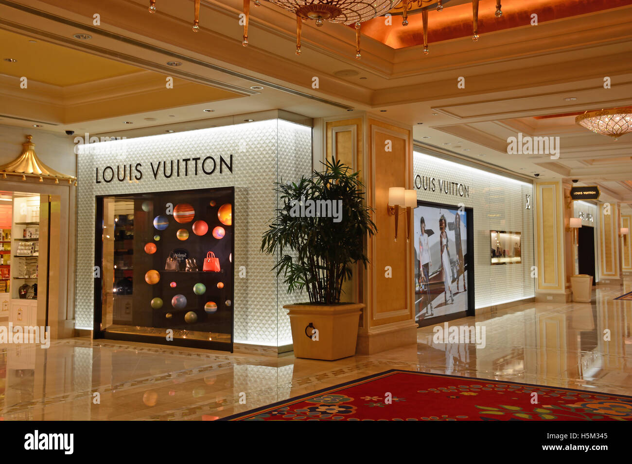 fedde9faf7b Louis Vuitton boutique in Wynn hotel casino Macau Stock Photo ...