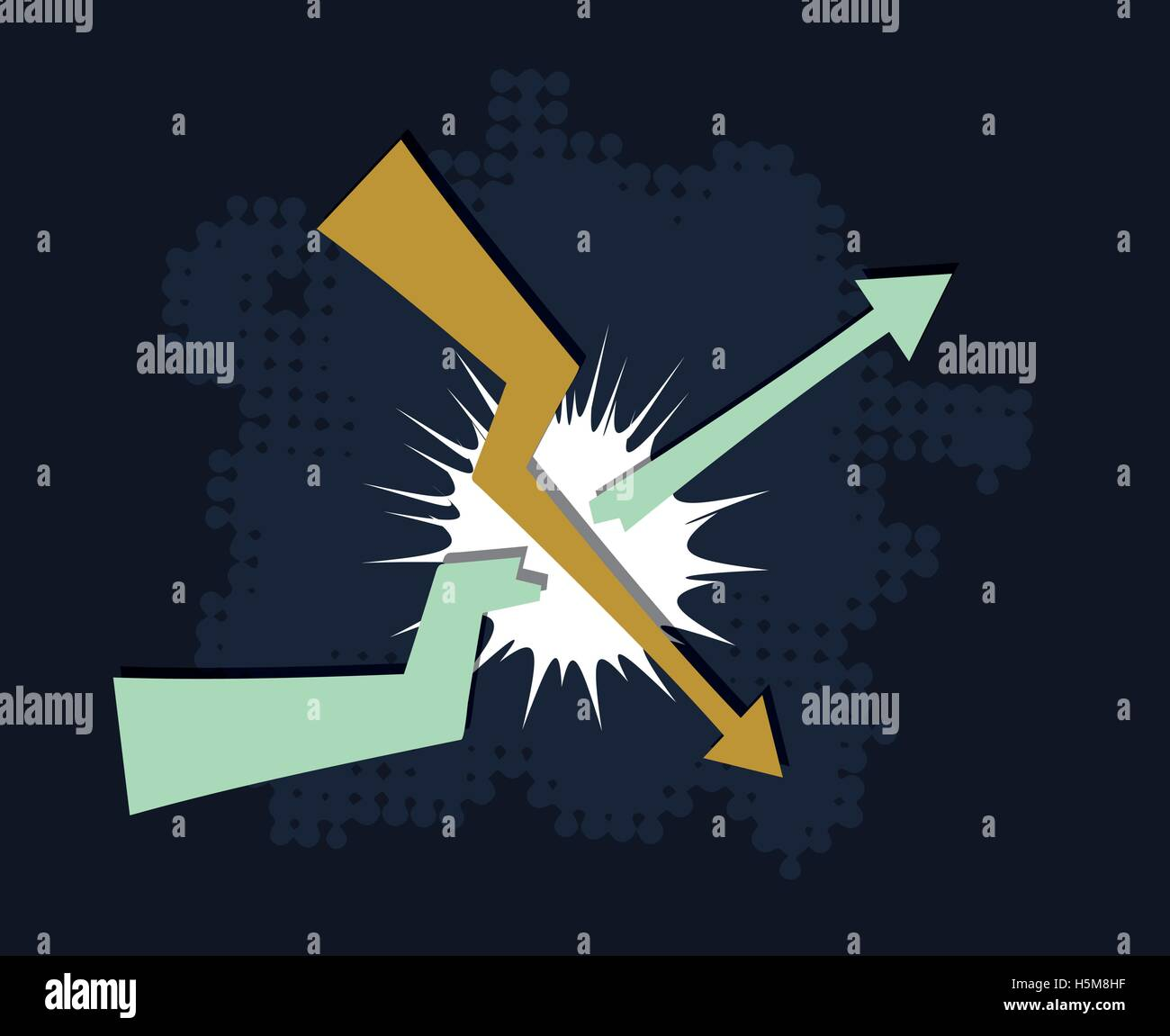 falling down trend breaks upcoming trend financial crisis concept abstract vector illustration - Stock Vector