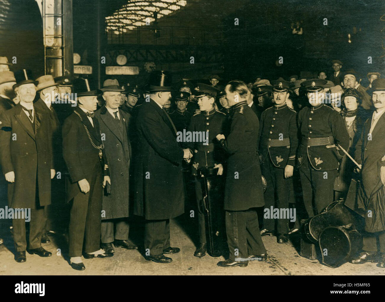 Greeting members of Marsden Colliery Band - Stock Image