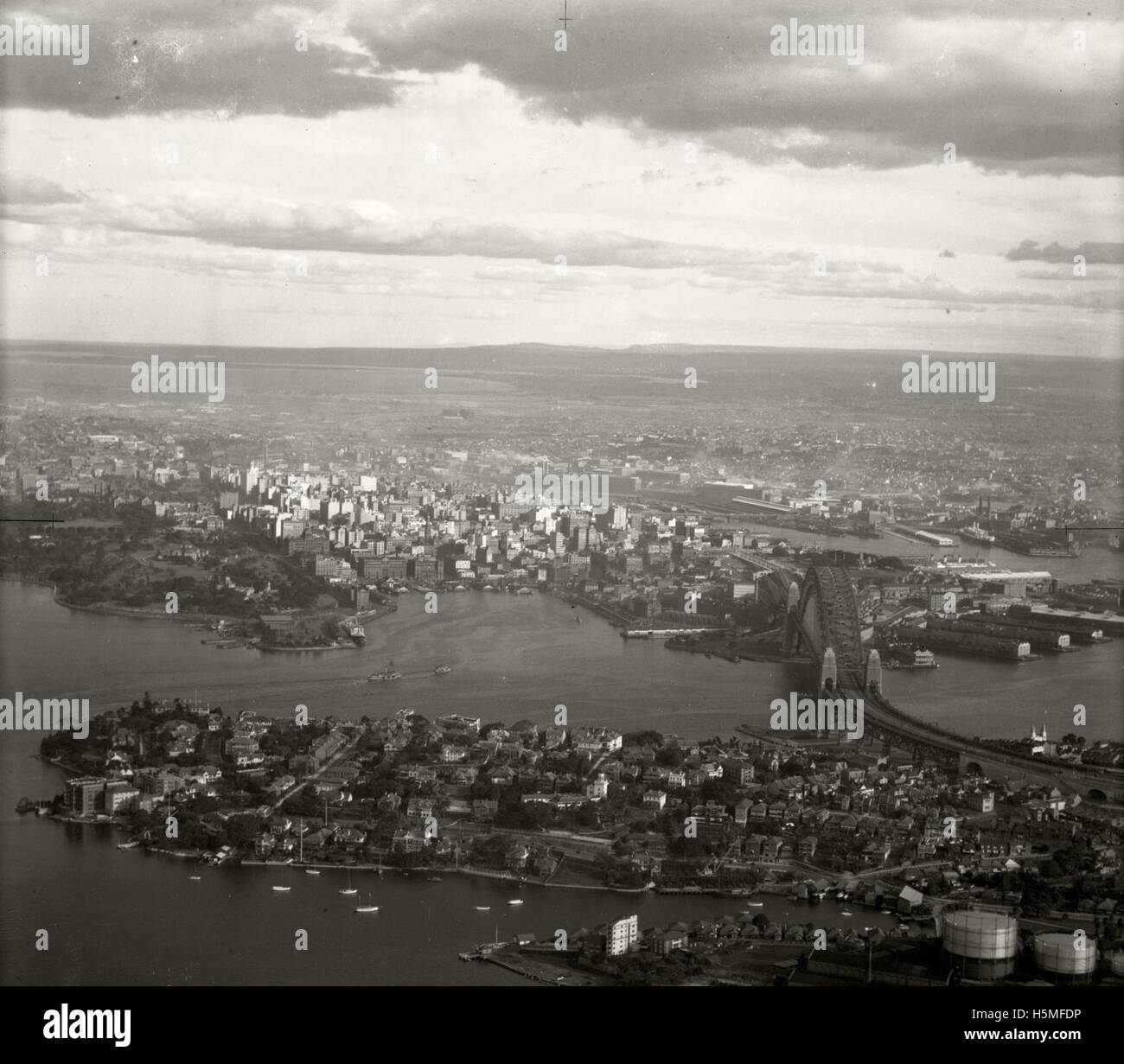 Kirribilli, Harbour Bridge & City - 15 June 1937 - Stock Image