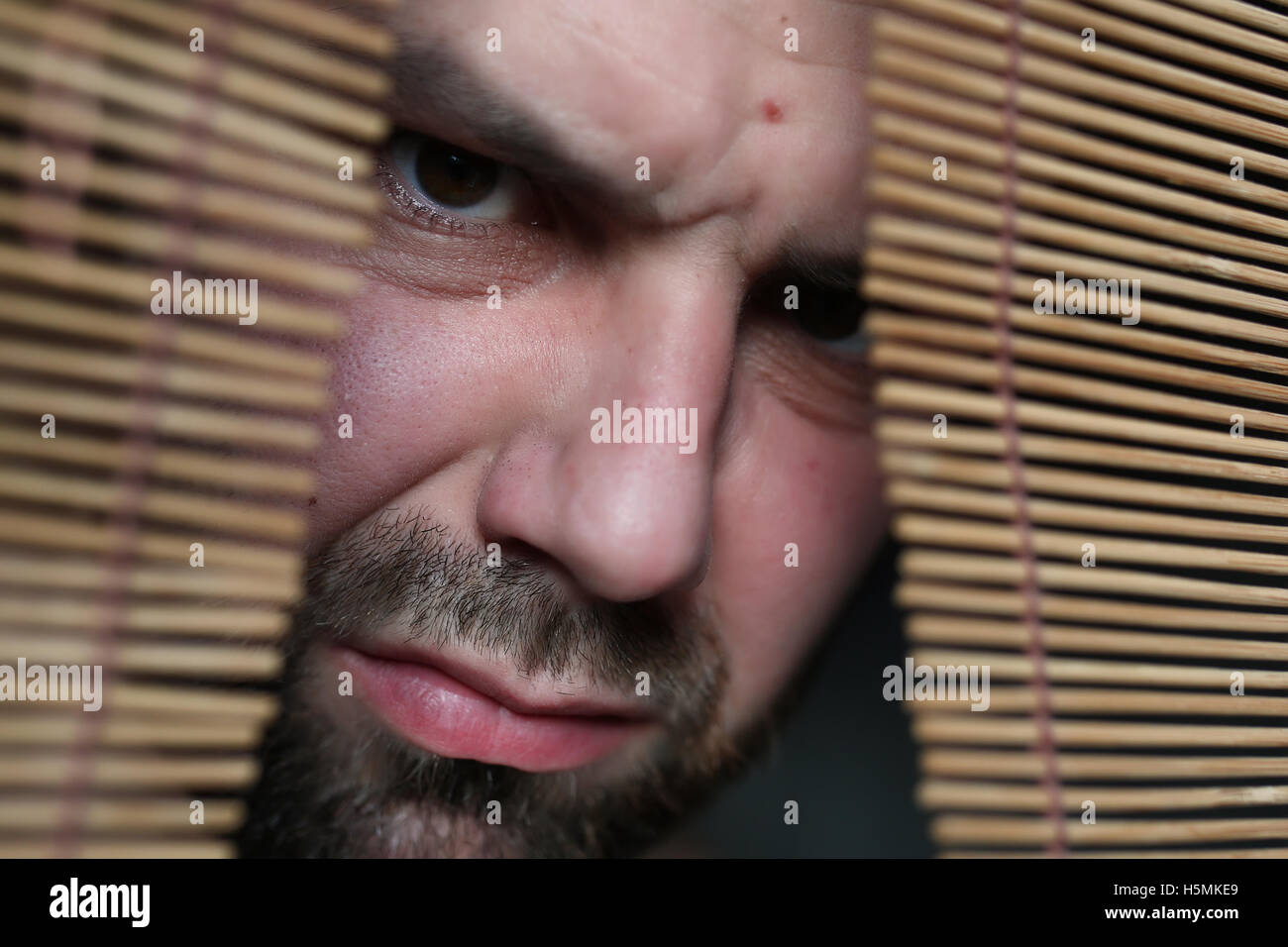 angry man at the jalousie - Stock Image